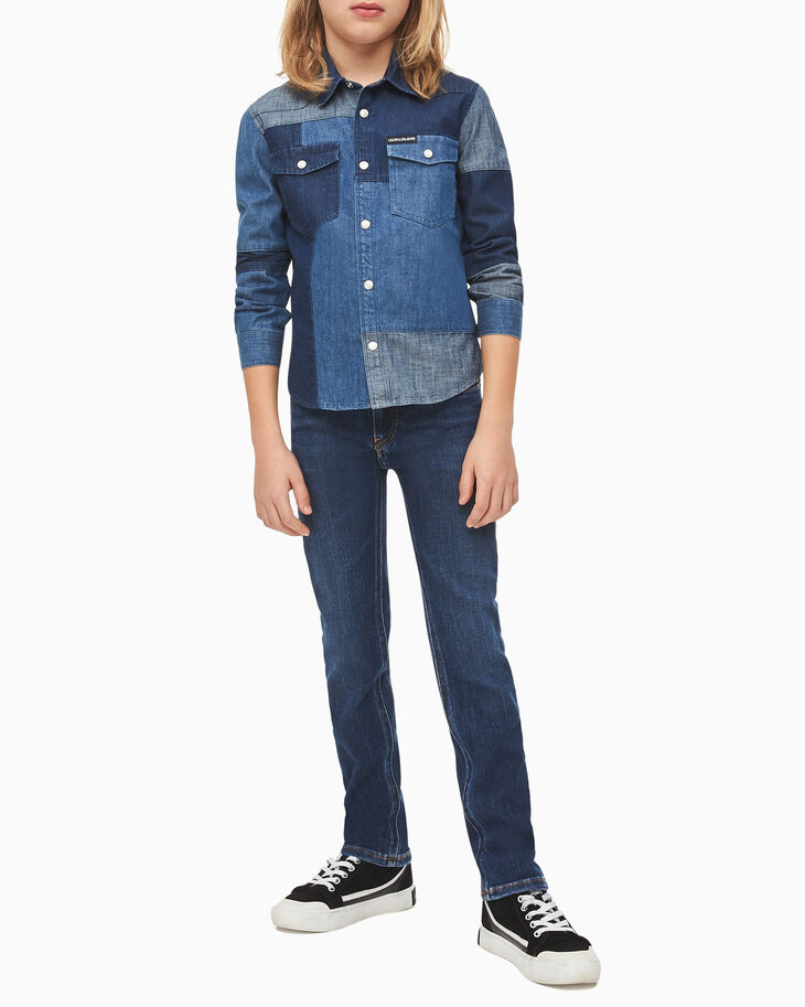 CALVIN KLEIN BOYS' PATCHWORK DENIM SHIRT