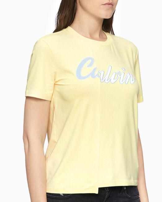 CALVIN KLEIN 여성 스플릿 버시티 로고 반팔 티셔츠