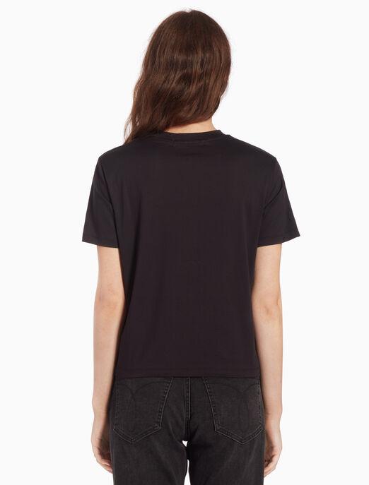 CALVIN KLEIN 여성 로고그램 모던 스트레이트 핏 반팔 티셔츠