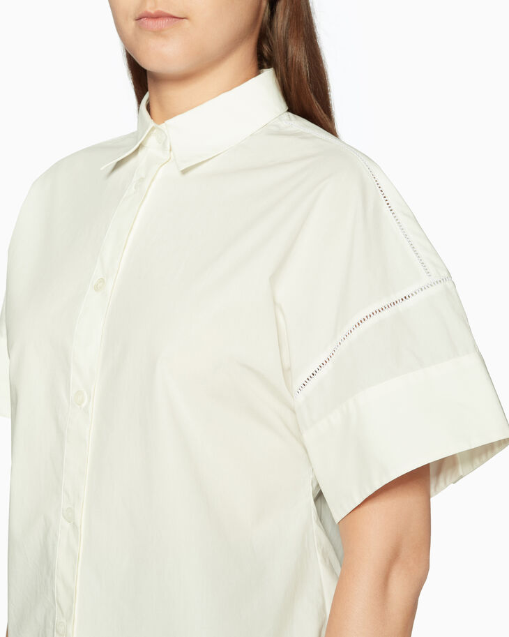 CALVIN KLEIN CONSTRUCTED ファゴティングディティール付きポプリンシャツ