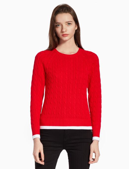 CALVIN KLEIN CONTRAST TRIM CABLE KNIT 스웨터