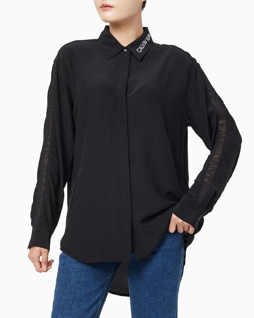 CALVIN KLEIN 여성 메쉬 테이프 드레이피 셔츠