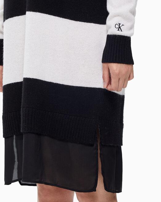 CALVIN KLEIN 여성 믹스미디어 스트라이프 스웨터 원피스