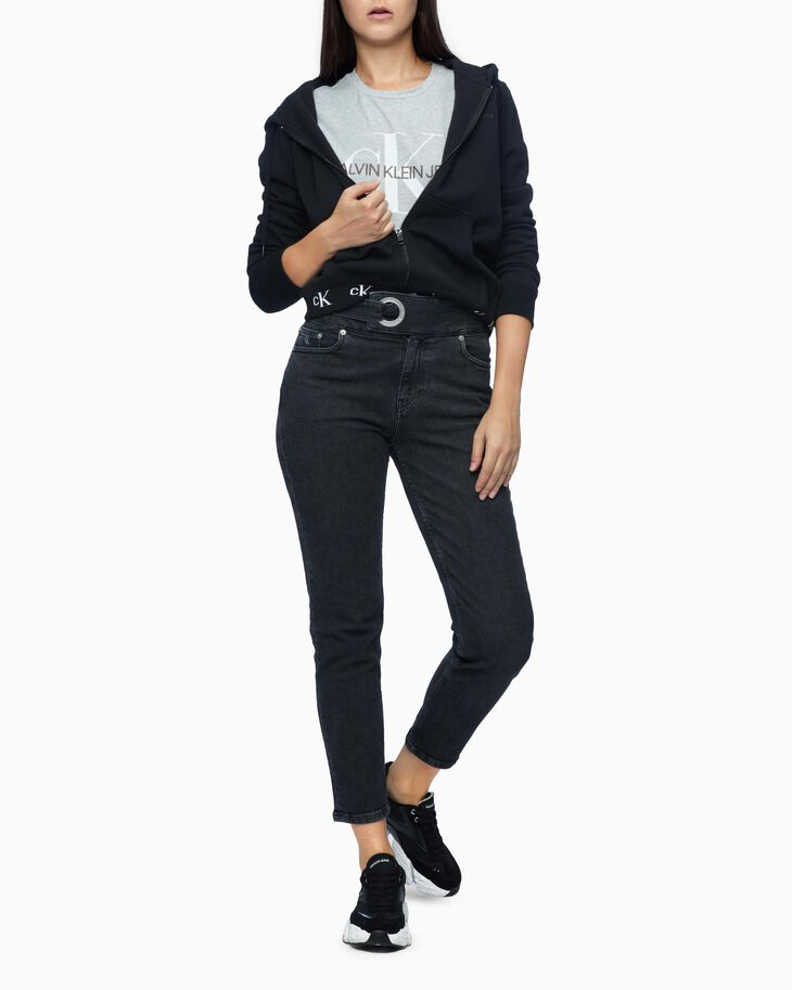 CALVIN KLEIN HIGH RISE MOM JEANS WITH EYELET BELT
