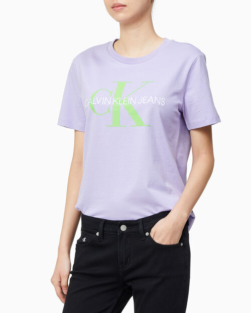 CALVIN KLEIN 여성 모노그램 로고 반팔 티셔츠
