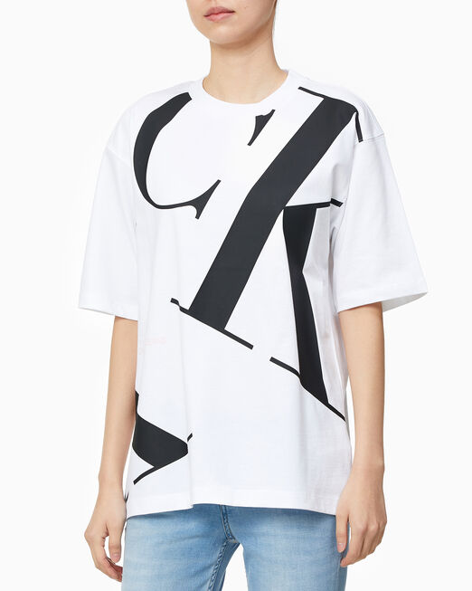 CALVIN KLEIN 여성 CK 오프 플레이스먼트 반팔 티셔츠