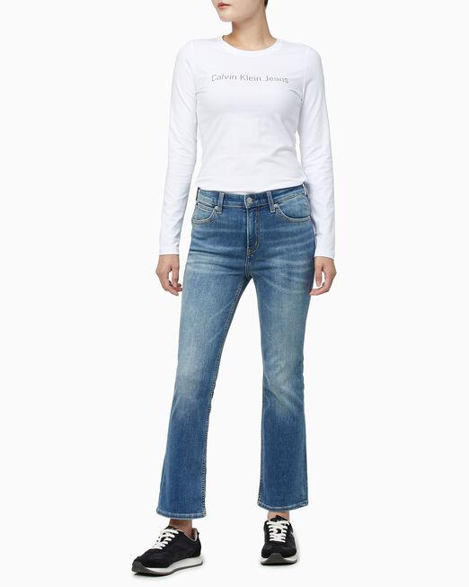 CALVIN KLEIN 여성 인스티튜셔널 로고 긴팔 티셔츠