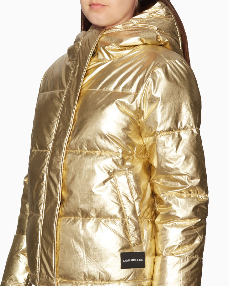 CALVIN KLEIN メタリックゴールド パファージャケット