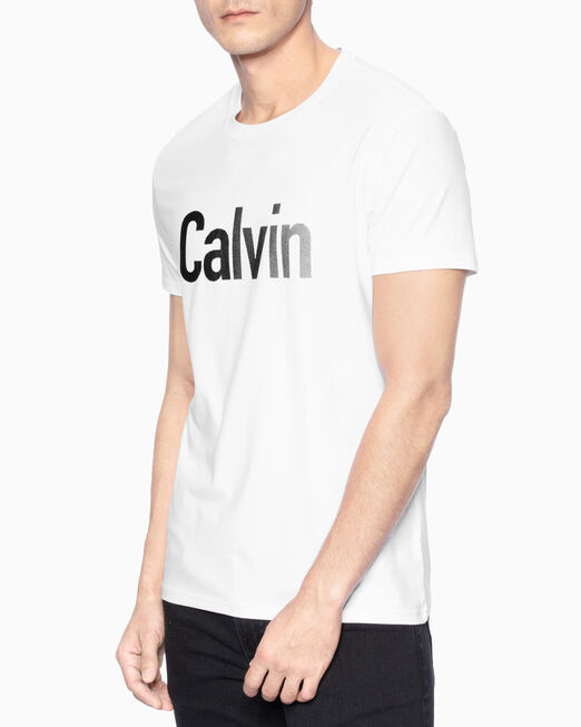 CALVIN KLEIN 남성 슬림핏 캘빈 플록킹 반팔 티셔츠