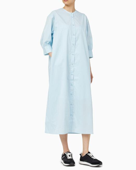 CALVIN KLEIN 여성 로고 테이프 미디 셔츠 드레스