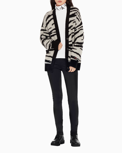 CALVIN KLEIN ANIMAL PATTERN JACQUARD CARDIGAN