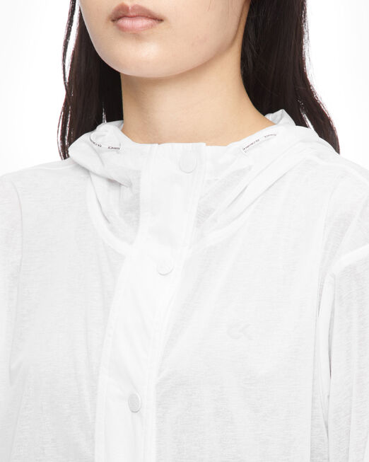 CALVIN KLEIN 여성 세미 트랜스패런트 밴 플리츠 후디드 재킷