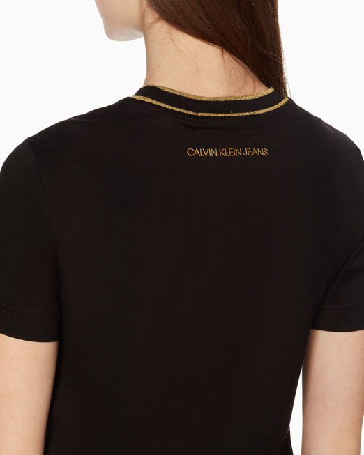 CALVIN KLEIN 여성 씨엔와이 콘트라스트 스티치 반팔 티셔츠