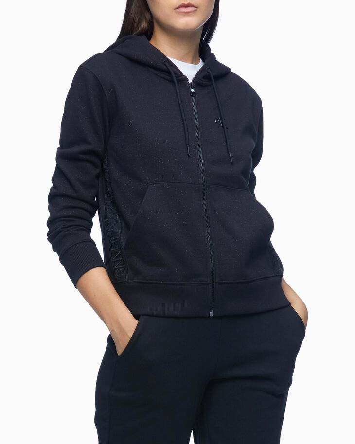 CALVIN KLEIN OUTLINED LOGO GLITTER ZIP UP HOODIE