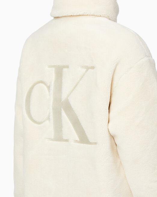 CALVIN KLEIN 여성 백 엠브로이더리 로고 셰르파 재킷