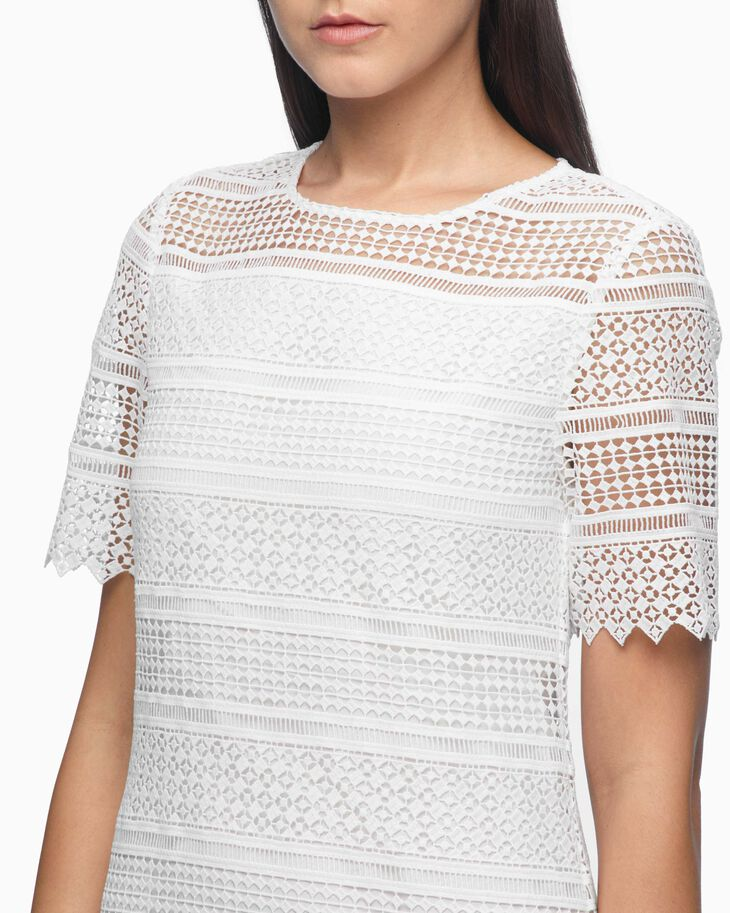 CALVIN KLEIN LACE CREW NECK MINI DRESS