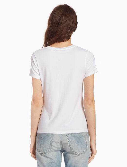 CALVIN KLEIN PEARLIZED 로고 프린트 티셔츠