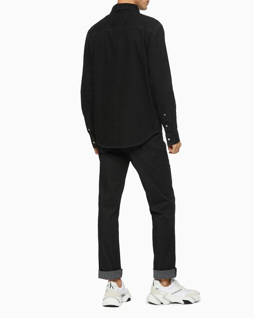 CALVIN KLEIN 남성 블랙 유틸리티 집 셔츠
