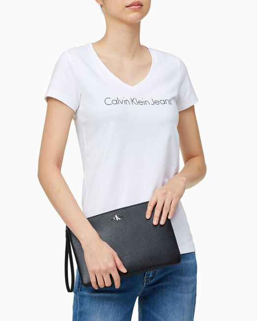 CALVIN KLEIN 여성 모노 하드웨어 소프트 2 IN 1 파우치