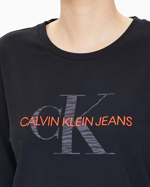 CALVIN KLEIN 여성 블랙 모노그램 니트 티셔츠