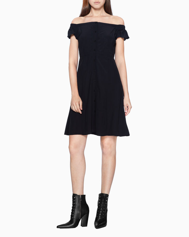 CALVIN KLEIN OFF-SHOULDER FLARED DRESS