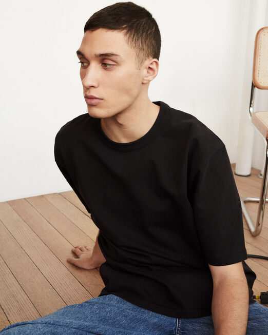 CALVIN KLEIN 남녀공용 프로젝트 오렌지 오가닉 코튼 헤비웨이트 반팔 티셔츠(블랙)