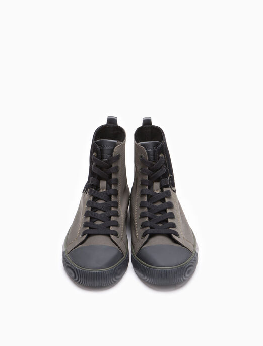 CALVIN KLEIN NYLON TWILL HIGH-TOP SNEAKER