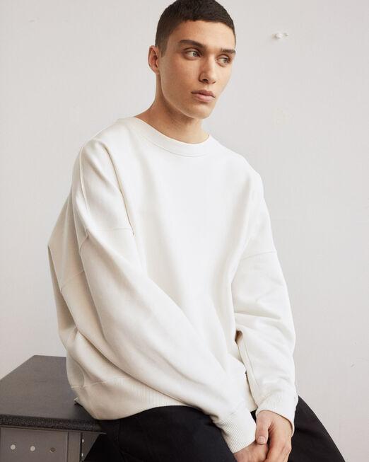 CALVIN KLEIN 남녀공용 프로젝트 오렌지 오가닉 코튼 스웨트셔츠(아이보리)