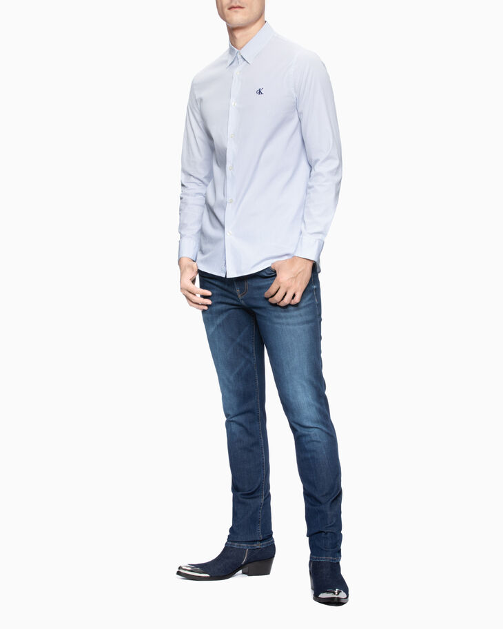 CALVIN KLEIN MIXED STRIPE SLIM SHIRT