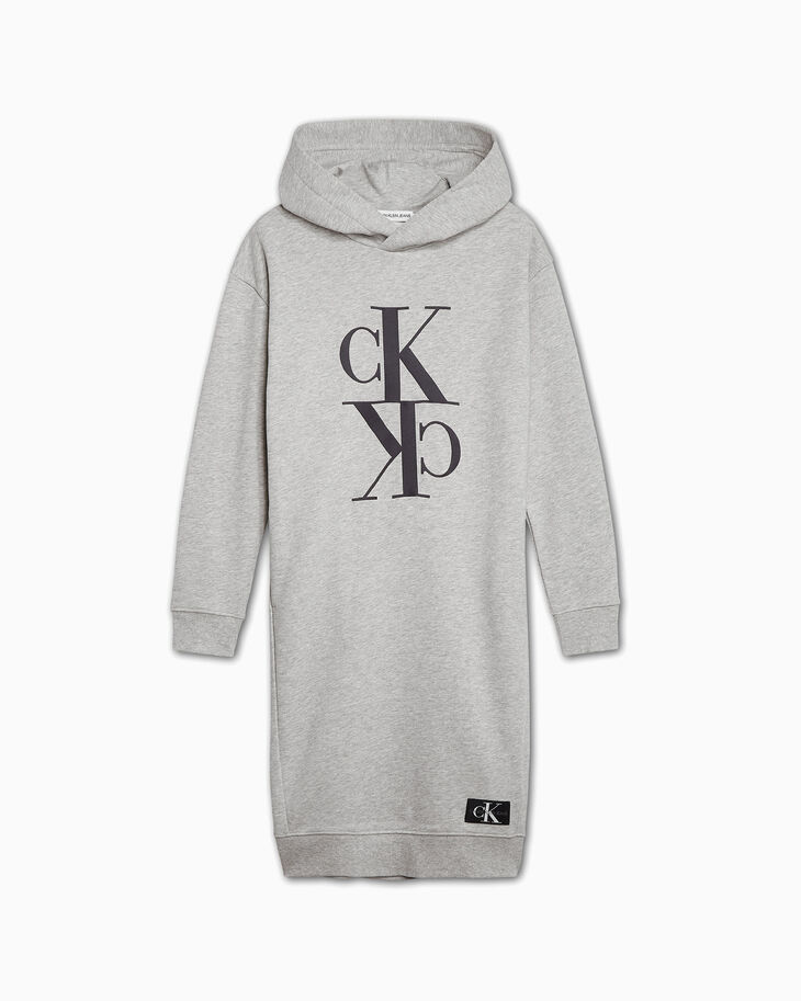 CALVIN KLEIN GIRLS' MONOGRAM LOGO SWEATSHIRT DRESS
