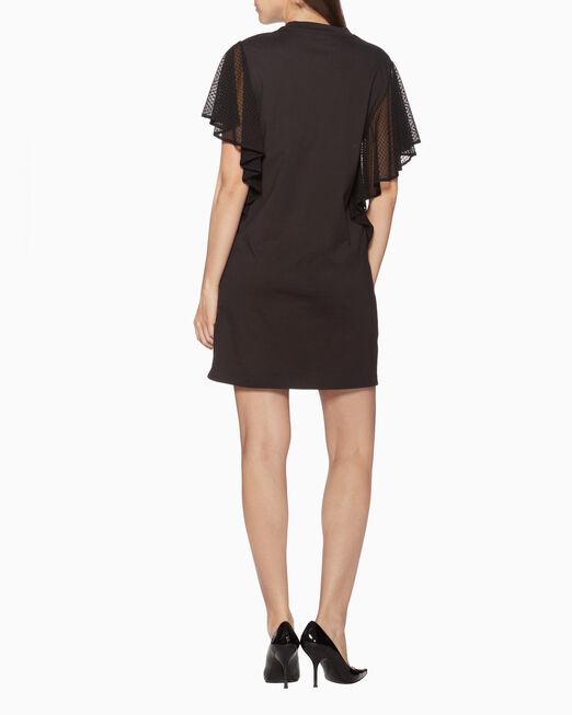 CALVIN KLEIN 레이스 드레이프가 있는 저지 드레스