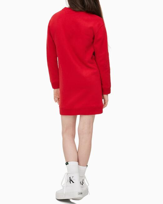CALVIN KLEIN 여아용 트리플 로고 스웨트셔츠 드레스