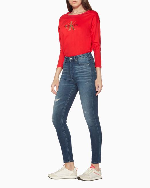 CALVIN KLEIN 골드 모노그램 로고 긴소매 티셔츠