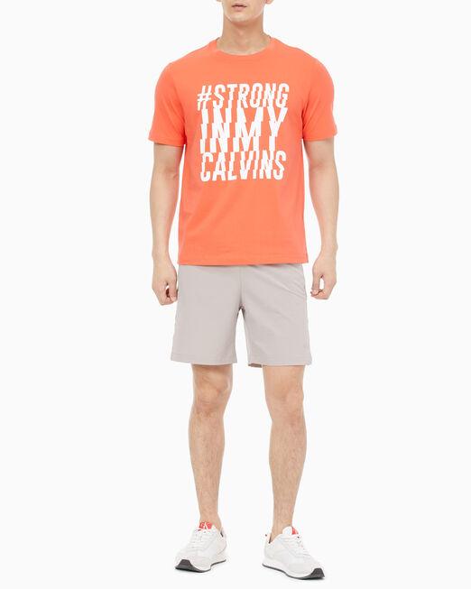 CALVIN KLEIN 남성 레귤러 핏 스트롱 그래픽 티셔츠