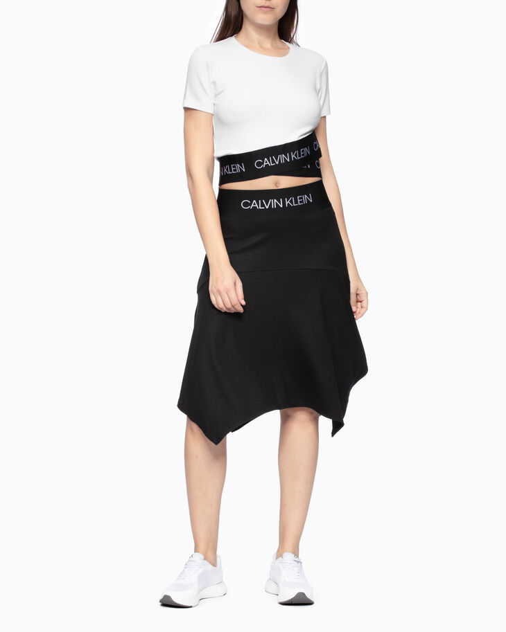 CALVIN KLEIN ACTIVE ICON CROPPED WRAP-OVER HEM TEE