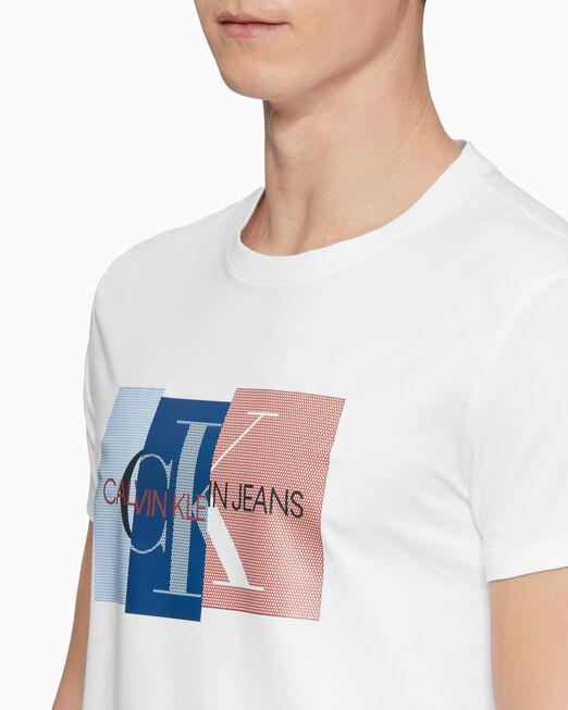 CALVIN KLEIN 남성 슬림핏 블로킹 반팔 티셔츠