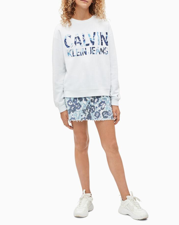 CALVIN KLEIN GIRLS' FLORAL LOGO PRINT SWEATSHIRT