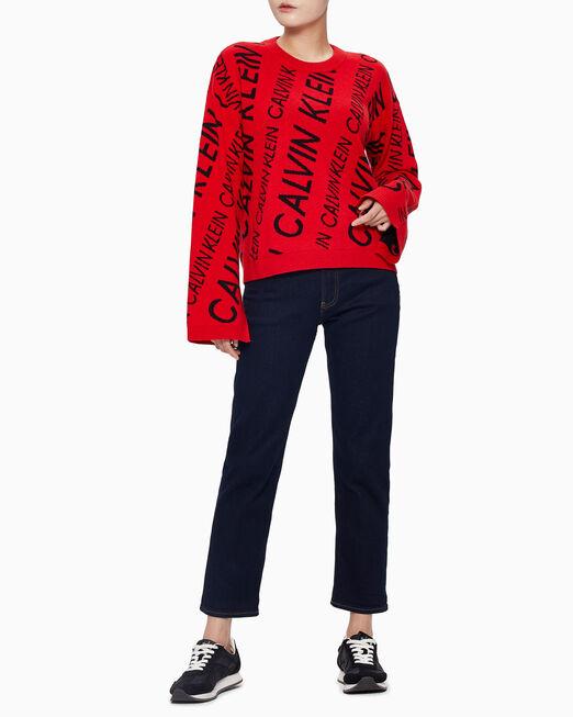 CALVIN KLEIN 여성 블랙 올 오버 로고 스웨터