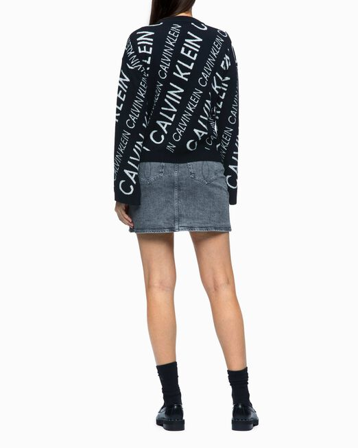 CALVIN KLEIN COTTON WOOL ALL OVER LOGO PULLOVER SWEATER