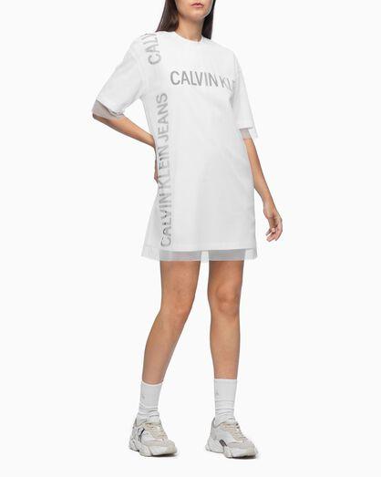 CALVIN KLEIN DOUBLE LAYER LOGO T-SHIRT DRESS