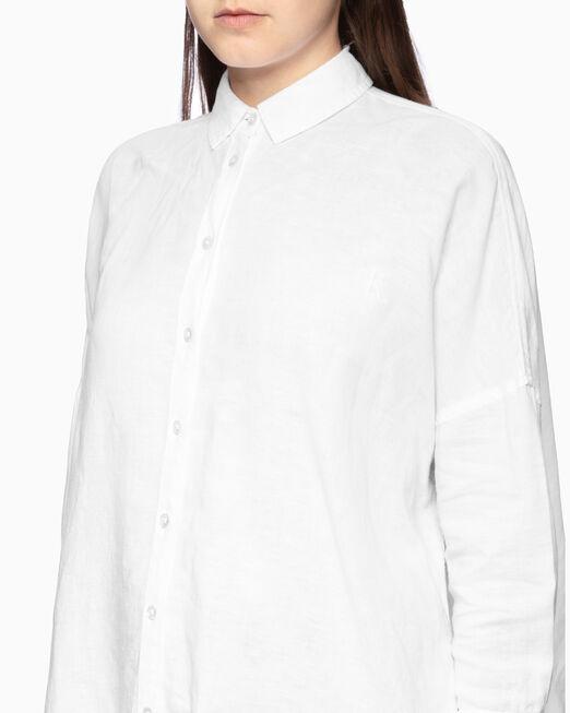 CALVIN KLEIN 여성 오버사이즈 스트라이프 린넨 셔츠
