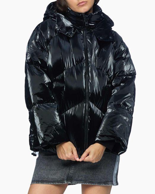 CALVIN KLEIN 여성 블랙 샤이니 푸퍼 다운 자켓
