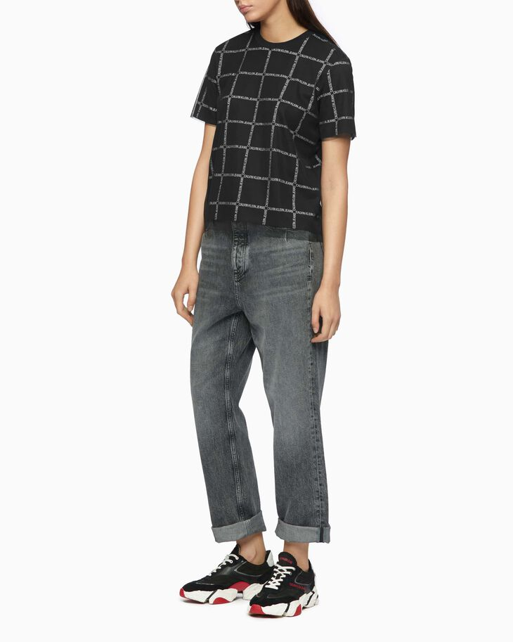 CALVIN KLEIN GRID LOGO TEE WITH MESH LAYER