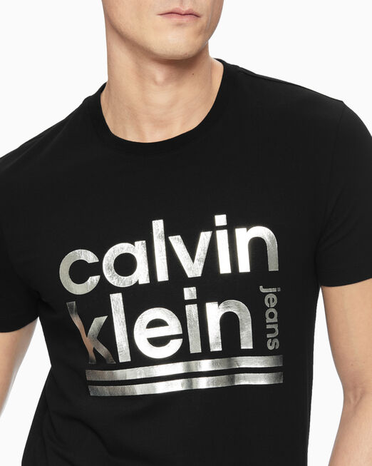 CALVIN KLEIN 남성 켈빈 메탈릭 슬림 반팔 티셔츠
