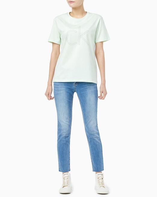 CALVIN KLEIN 여성 임벨리시먼트 CK 티셔츠