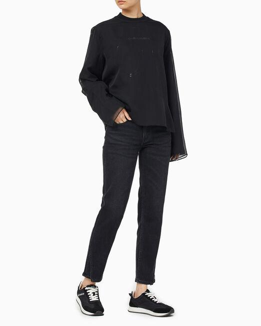 CALVIN KLEIN 여성 패션핏 오간자 긴팔 티셔츠