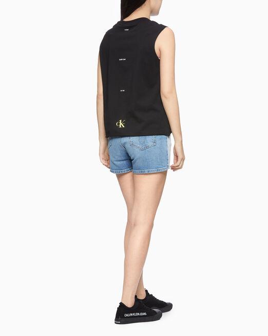 CALVIN KLEIN 여성 스몰 로고 레귤러 민소매 티셔츠