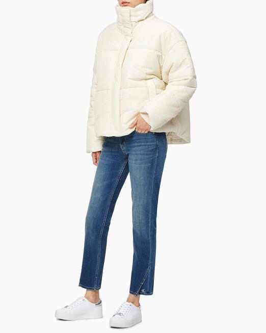 CALVIN KLEIN 여성 크링클 오버핏 서스테이너블 숏 푸퍼 재킷