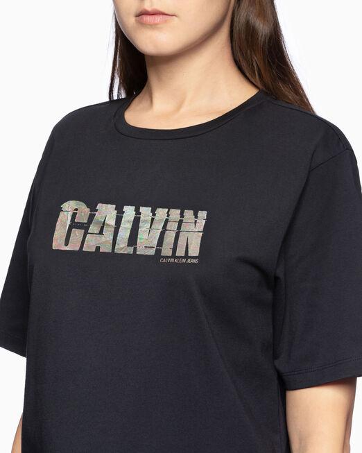 CALVIN KLEIN 여성 샤이니 캘빈 반팔 티셔츠