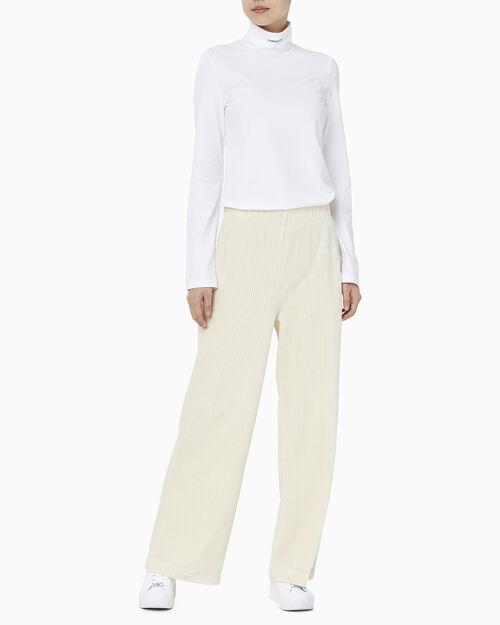 CALVIN KLEIN 여성 마이크로 브랜딩 롤넥 긴팔 티셔츠
